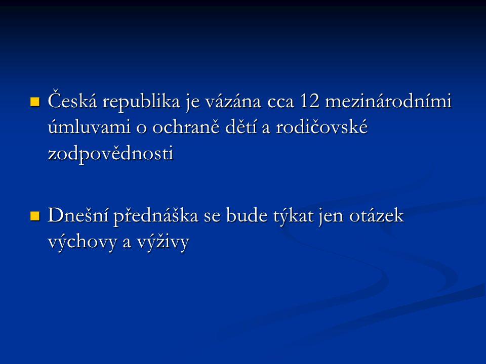 Česká republika je vázána cca 12 mezinárodními úmluvami o ochraně dětí a rodičovské zodpovědnosti Česká republika je vázána cca 12 mezinárodními úmluv
