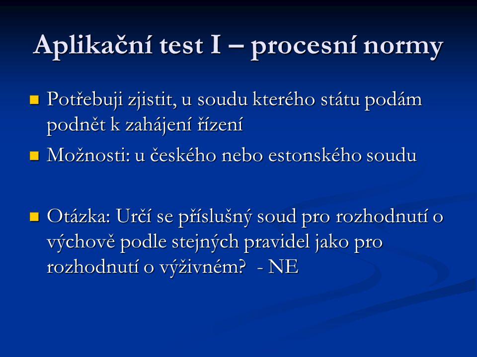 Aplikační test I – procesní normy Potřebuji zjistit, u soudu kterého státu podám podnět k zahájení řízení Potřebuji zjistit, u soudu kterého státu pod
