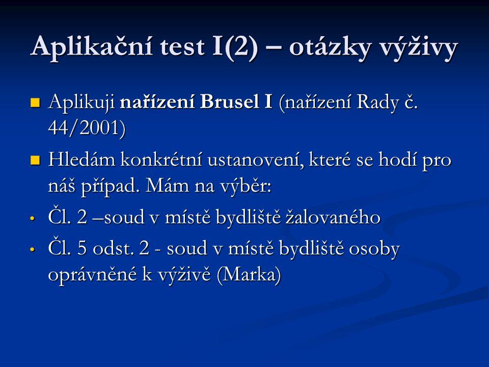 Aplikační test I(2) – otázky výživy Aplikuji nařízení Brusel I (nařízení Rady č. 44/2001) Aplikuji nařízení Brusel I (nařízení Rady č. 44/2001) Hledám