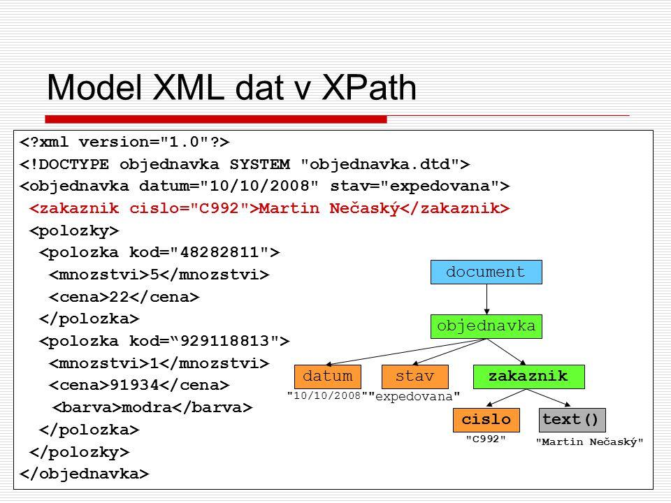 11 Martin Nečaský 5 22 1 91934 modra Model XML dat v XPath objednavka document datum