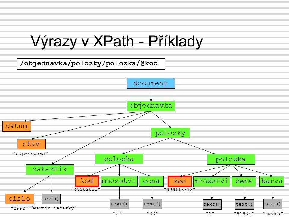 Výrazy v XPath - Příklady objednavka document datum stav