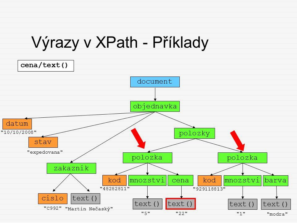 Výrazy v XPath - Příklady objednavka document datum
