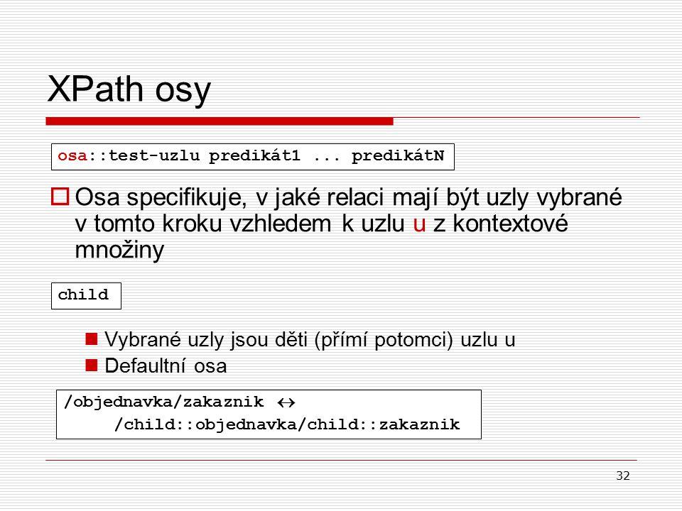32 XPath osy  Osa specifikuje, v jaké relaci mají být uzly vybrané v tomto kroku vzhledem k uzlu u z kontextové množiny Vybrané uzly jsou děti (přímí