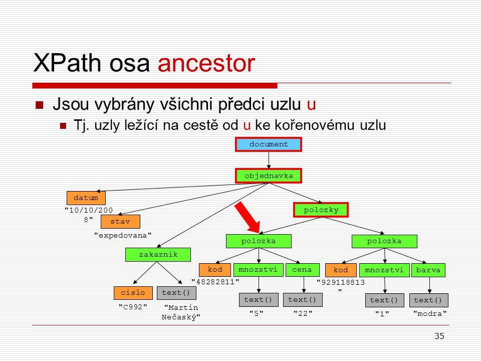 35 XPath osa ancestor Jsou vybrány všichni předci uzlu u Tj. uzly ležící na cestě od u ke kořenovému uzlu objednavka document datum