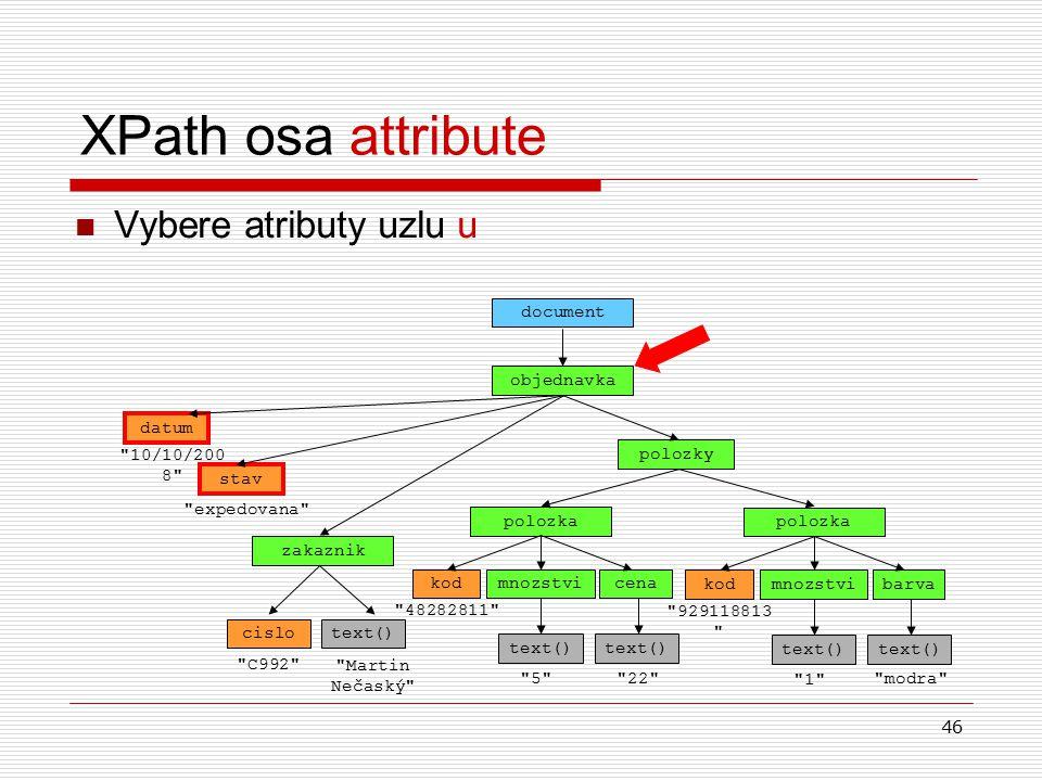 46 XPath osa attribute Vybere atributy uzlu u objednavka document datum