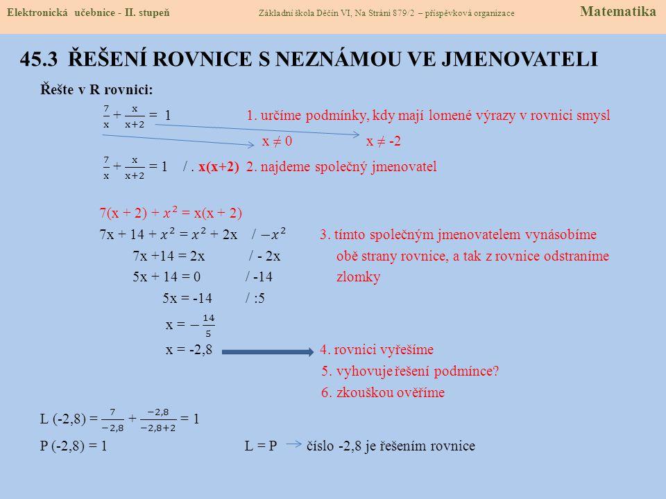 45.4 VÝPOČET NEZNÁME ZE VZORCE Elektronická učebnice - II.