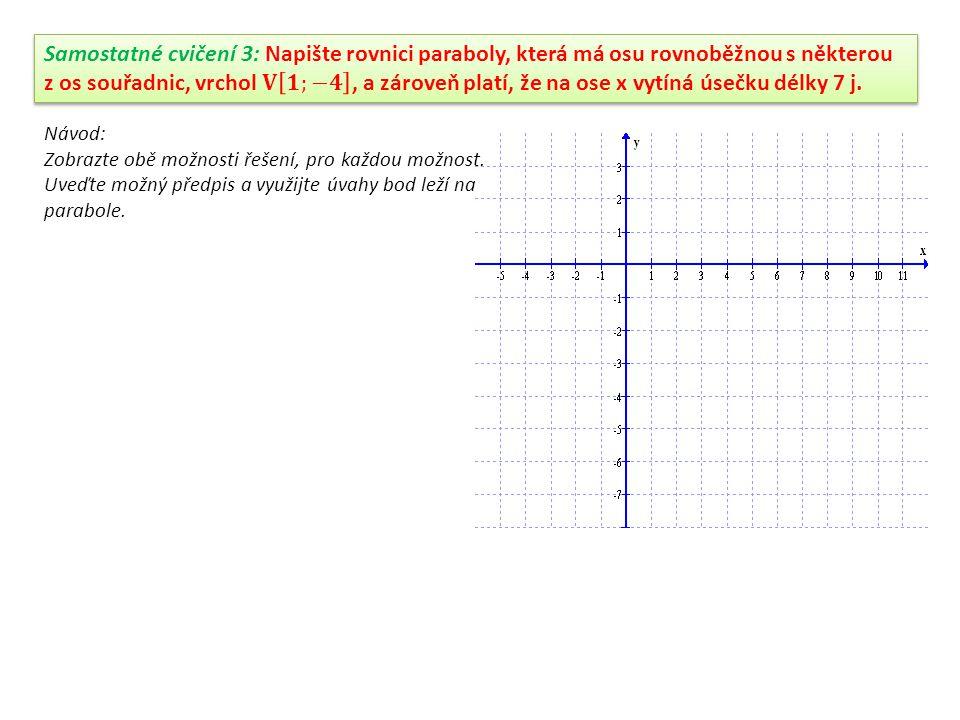 Příklad 3: Napište rovnici paraboly, znáte-li vrchol V[-4;-2]a víte-li, že prochází bodem K[-1;2] a osa paraboly je rovnoběžná s osou x.
