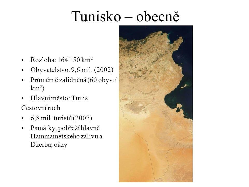 Tunisko – obecně Rozloha: 164 150 km 2 Obyvatelstvo: 9,6 mil. (2002) Průměrně zalidněná (60 obyv./ km 2 ) Hlavní město: Tunis Cestovní ruch 6,8 mil. t