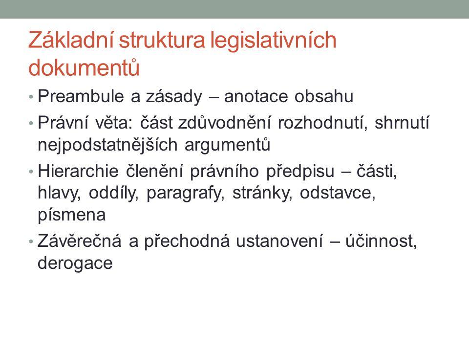 Základní struktura legislativních dokumentů Preambule a zásady – anotace obsahu Právní věta: část zdůvodnění rozhodnutí, shrnutí nejpodstatnějších arg