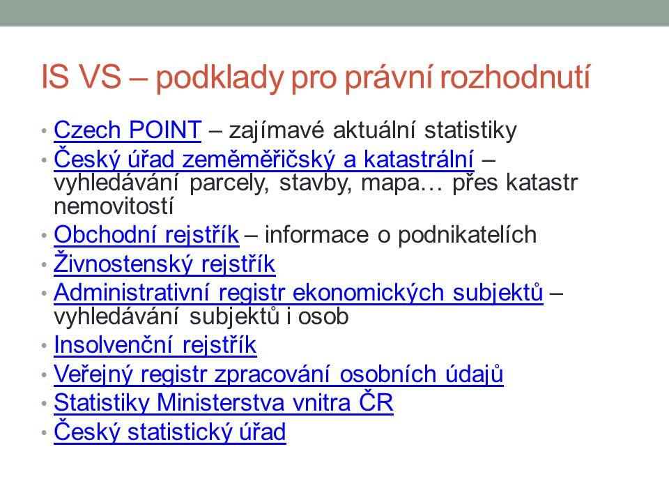 IS VS – podklady pro právní rozhodnutí Czech POINT – zajímavé aktuální statistiky Czech POINT Český úřad zeměměřičský a katastrální – vyhledávání parc