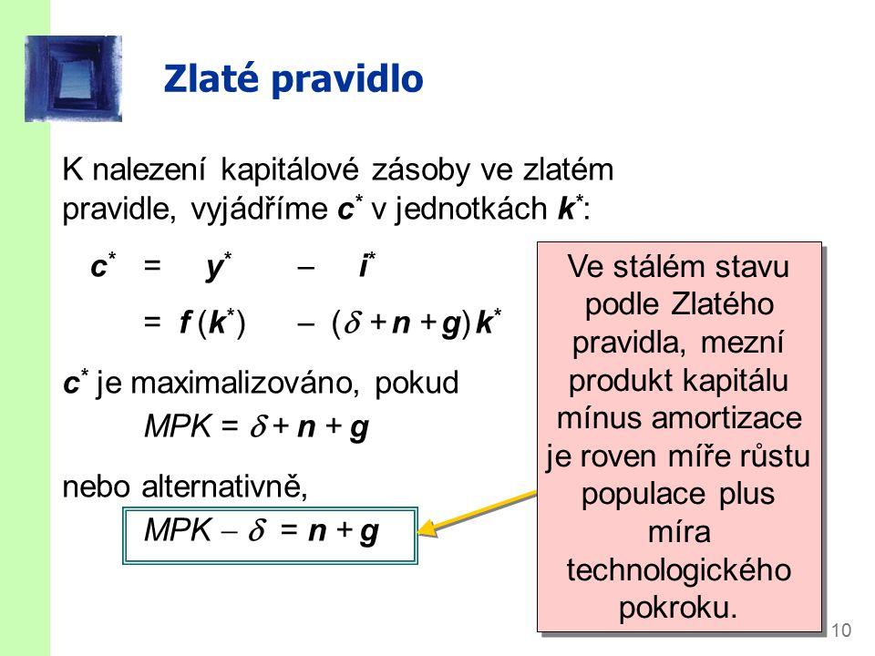 slide 10 Zlaté pravidlo K nalezení kapitálové zásoby ve zlatém pravidle, vyjádříme c * v jednotkách k * : c * = y *  i * = f (k * )  (  + n + g) k