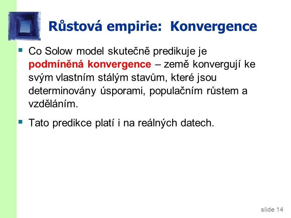 slide 14 Růstová empirie: Konvergence  Co Solow model skutečně predikuje je podmíněná konvergence – země konvergují ke svým vlastním stálým stavům, k