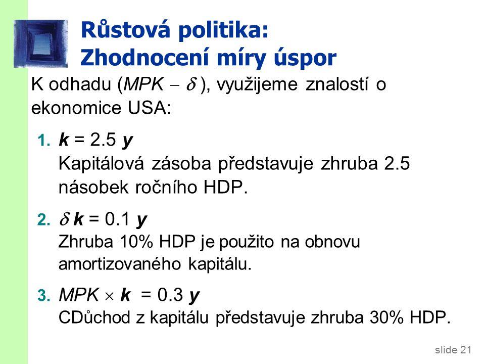 slide 21 Růstová politika: Zhodnocení míry úspor K odhadu (MPK   ), využijeme znalostí o ekonomice USA: 1. k = 2.5 y Kapitálová zásoba představuje z