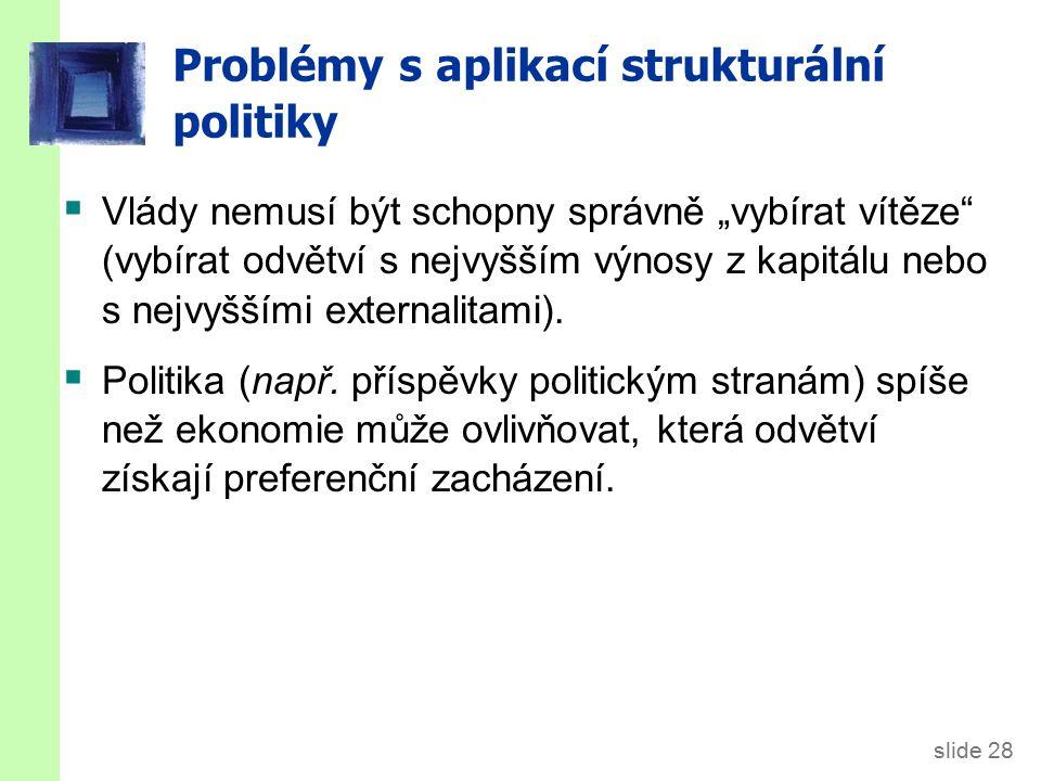 """slide 28 Problémy s aplikací strukturální politiky  Vlády nemusí být schopny správně """"vybírat vítěze"""" (vybírat odvětví s nejvyšším výnosy z kapitálu"""