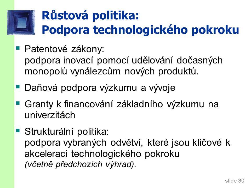 slide 30 Růstová politika: Podpora technologického pokroku  Patentové zákony: podpora inovací pomocí udělování dočasných monopolů vynálezcům nových p