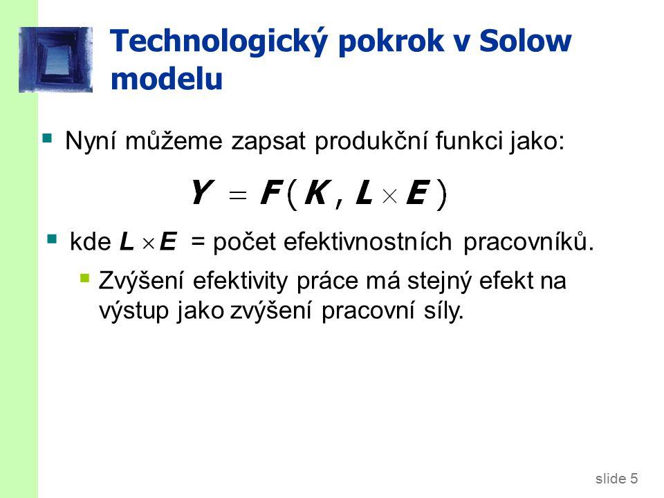 slide 6 Technologický pokrok v Solow modelu  Značení: y = Y/LE = výstup na efektivnostního pracovníka k = K/LE = kapitál na efektivnostního pracovníka  Produkční funkce na efektivnostního pracovníka: y = f(k)  Úspory a investice na efektivnostního pracovníka: s y = s f(k)