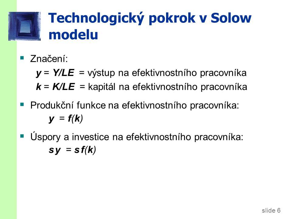 slide 6 Technologický pokrok v Solow modelu  Značení: y = Y/LE = výstup na efektivnostního pracovníka k = K/LE = kapitál na efektivnostního pracovník