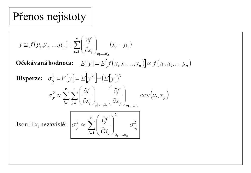 Nejistota nepřímého měření Příklad: měření el.