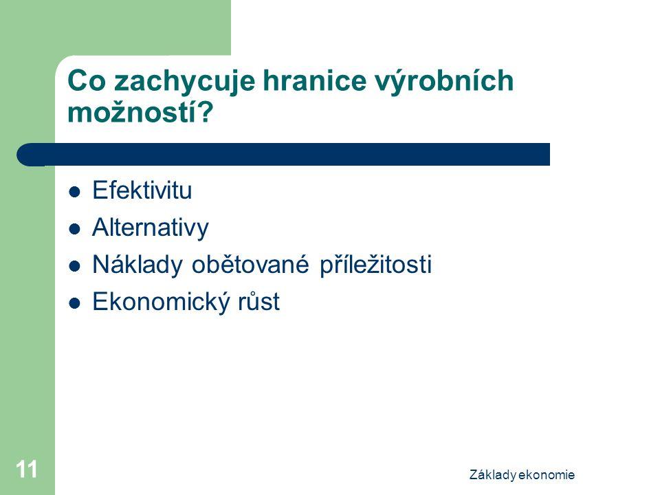 Základy ekonomie 11 Co zachycuje hranice výrobních možností? Efektivitu Alternativy Náklady obětované příležitosti Ekonomický růst