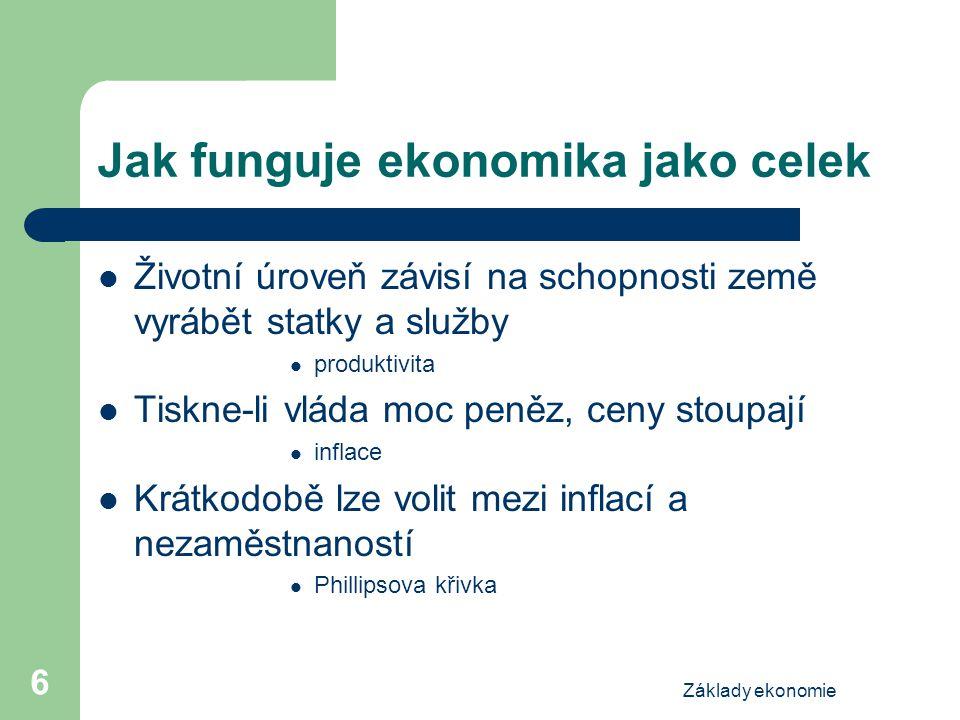 Základy ekonomie 7 Ekonomie vás naučí......přemýšlet o alternativách...