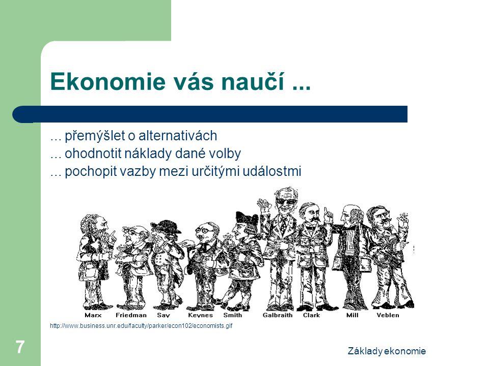 Základy ekonomie 7 Ekonomie vás naučí...... přemýšlet o alternativách... ohodnotit náklady dané volby... pochopit vazby mezi určitými událostmi http:/