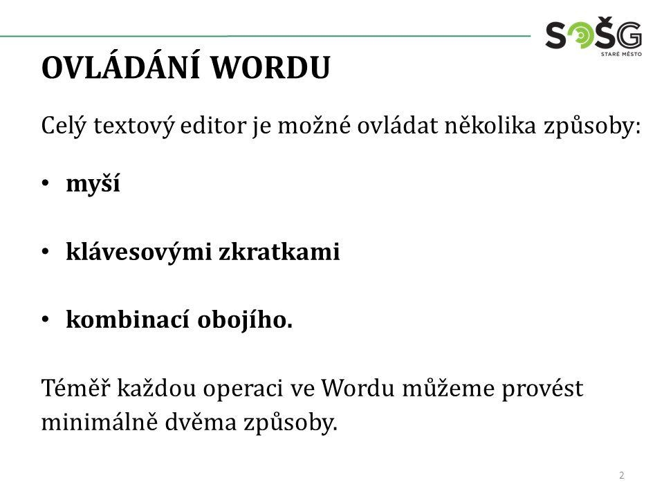 OVLÁDÁNÍ WORDU Celý textový editor je možné ovládat několika způsoby: myší klávesovými zkratkami kombinací obojího.