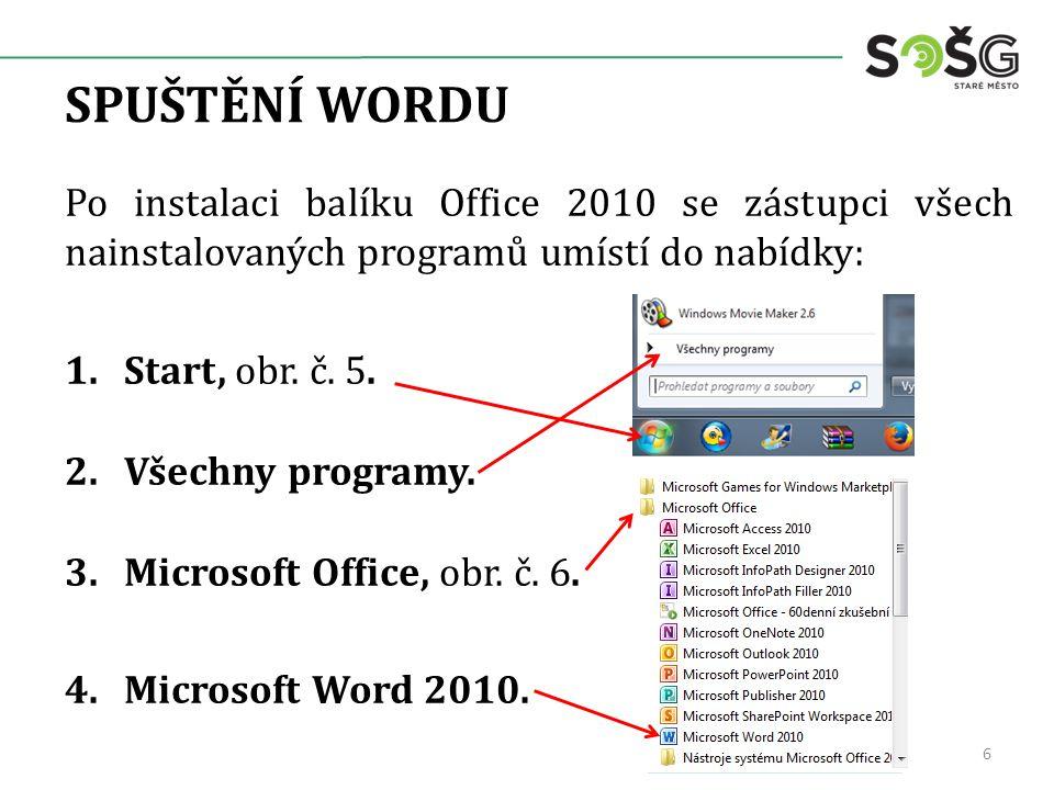 SPUŠTĚNÍ WORDU Po instalaci balíku Office 2010 se zástupci všech nainstalovaných programů umístí do nabídky: 1.Start, obr.