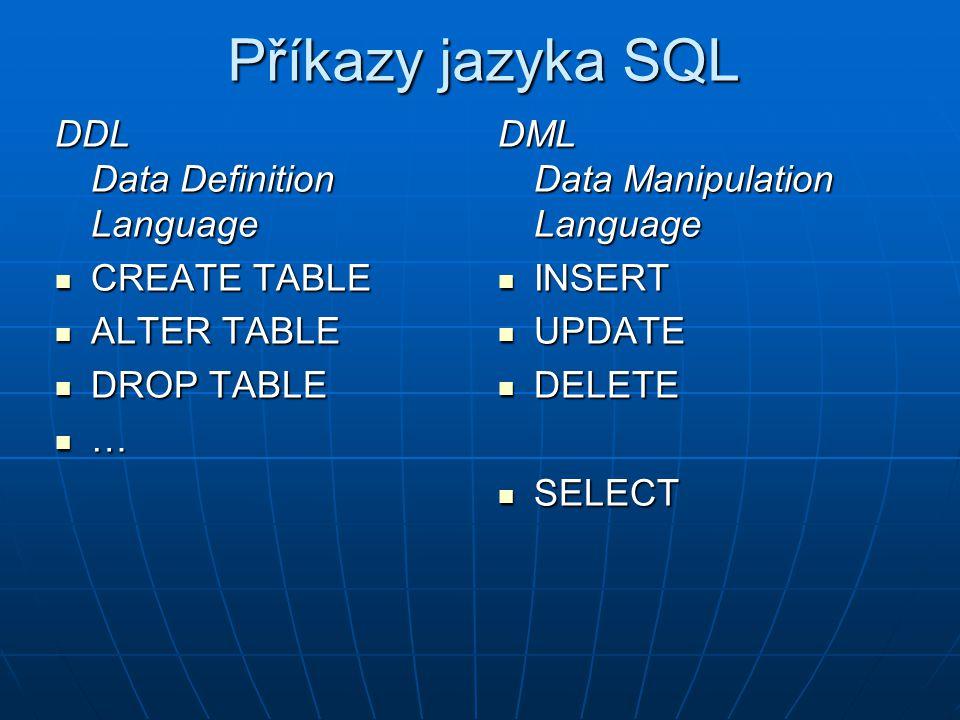ALTER TABLE (1) Přidání sloupce: ALTER TABLE název_tabulky ADD definice_sloupce Přidání sloupce: ALTER TABLE název_tabulky ADD definice_sloupce Odebrání sloupce: ALTER TABLE název_tabulky DROP COLUMN název_sloupce Odebrání sloupce: ALTER TABLE název_tabulky DROP COLUMN název_sloupce Přejmenování sloupce ve VFP: ALTER TABLE název_tabulky RENAME COLUMN starý_název TO nový_název Přejmenování sloupce ve VFP: ALTER TABLE název_tabulky RENAME COLUMN starý_název TO nový_název Přejmenování sloupce na SQL Serveru: uloženou procedurou sp_rename Přejmenování sloupce na SQL Serveru: uloženou procedurou sp_rename