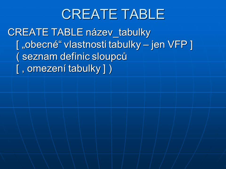 Definice sloupce – VFP název_sloupce datový_typ [ ( délka [, des_místa ] ) ] [ NULL | NOT NULL ] [ NULL | NOT NULL ] [ AUTOINC [ NEXTVALUE počátek [ STEP krok ] ] ] | [ DEFAULT výraz ] [ AUTOINC [ NEXTVALUE počátek [ STEP krok ] ] ] | [ DEFAULT výraz ]omezení: [ CHECK log_výraz [ ERROR text ] ] [ CHECK log_výraz [ ERROR text ] ] [ PRIMARY KEY | UNIQUE [ COLLATE collate_sequence ] ] [ PRIMARY KEY | UNIQUE [ COLLATE collate_sequence ] ] [ REFERENCES název_tabulky [ TAG název_složky ] ] [ REFERENCES název_tabulky [ TAG název_složky ] ]