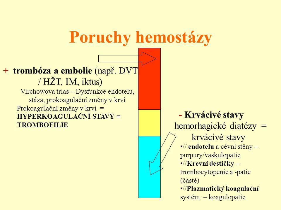 Poruchy hemostázy - Krvácivé stavy hemorhagické diatézy = krvácivé stavy // endotelu a cévní stěny – purpury/vaskulopatie //Krevní destičky – trombocy