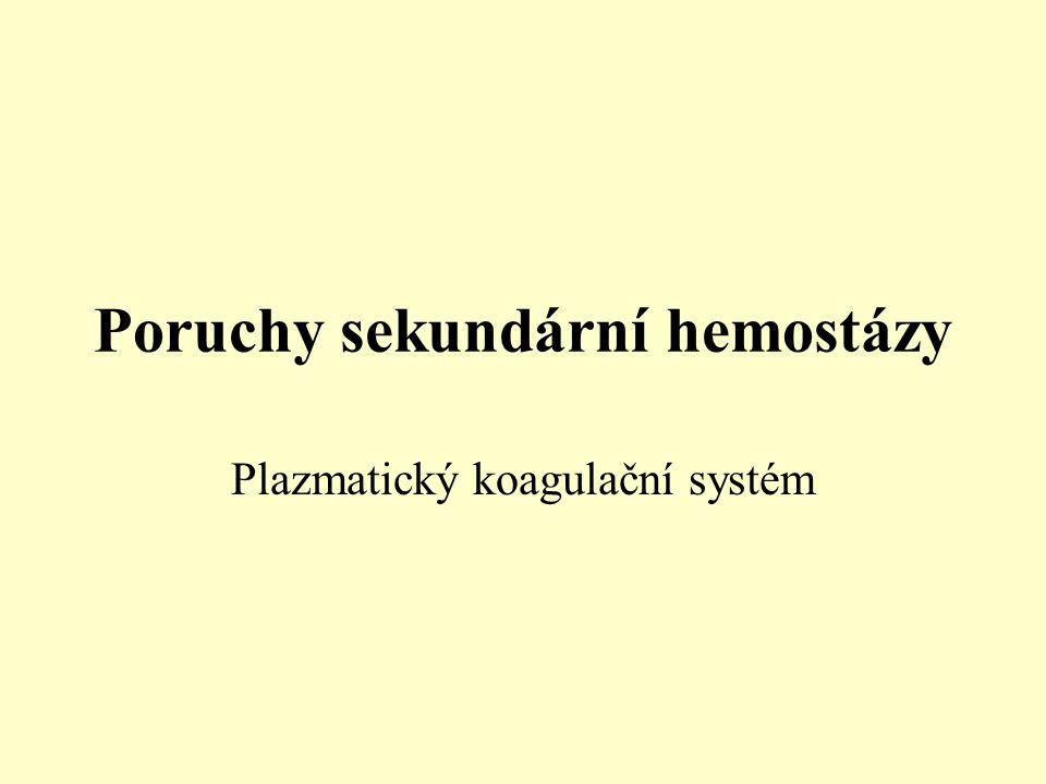 Poruchy sekundární hemostázy Plazmatický koagulační systém