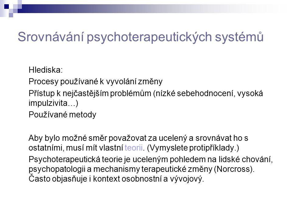 Srovnávání psychoterapeutických systémů Hlediska: Procesy používané k vyvolání změny Přístup k nejčastějším problémům (nízké sebehodnocení, vysoká imp