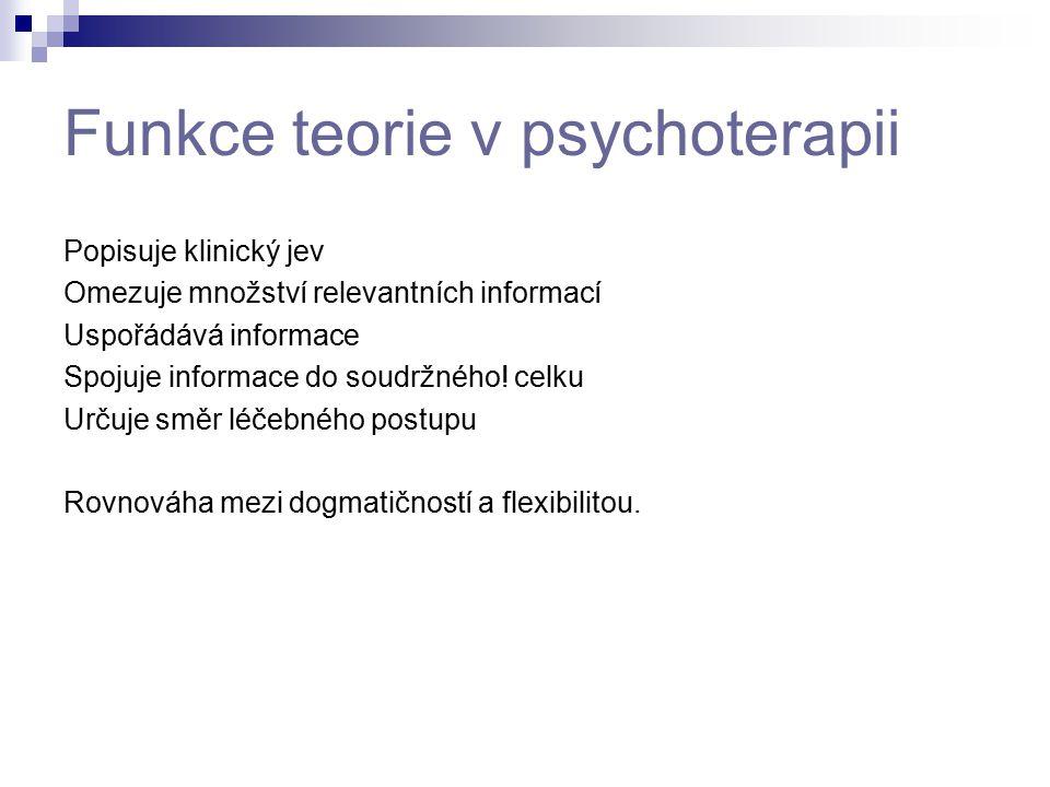Funkce teorie v psychoterapii Popisuje klinický jev Omezuje množství relevantních informací Uspořádává informace Spojuje informace do soudržného! celk