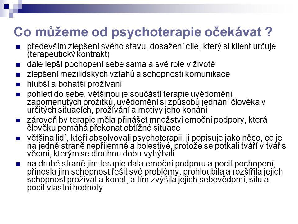 Co můžeme od psychoterapie očekávat ? především zlepšení svého stavu, dosažení cíle, který si klient určuje (terapeutický kontrakt) dále lepší pochope