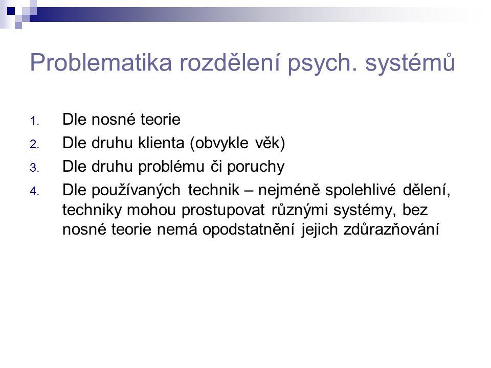 Problematika rozdělení psych. systémů 1. Dle nosné teorie 2. Dle druhu klienta (obvykle věk) 3. Dle druhu problému či poruchy 4. Dle používaných techn