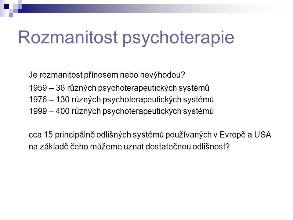 Rozmanitost psychoterapie Je rozmanitost přínosem nebo nevýhodou? 1959 – 36 různých psychoterapeutických systémů 1976 – 130 různých psychoterapeutický