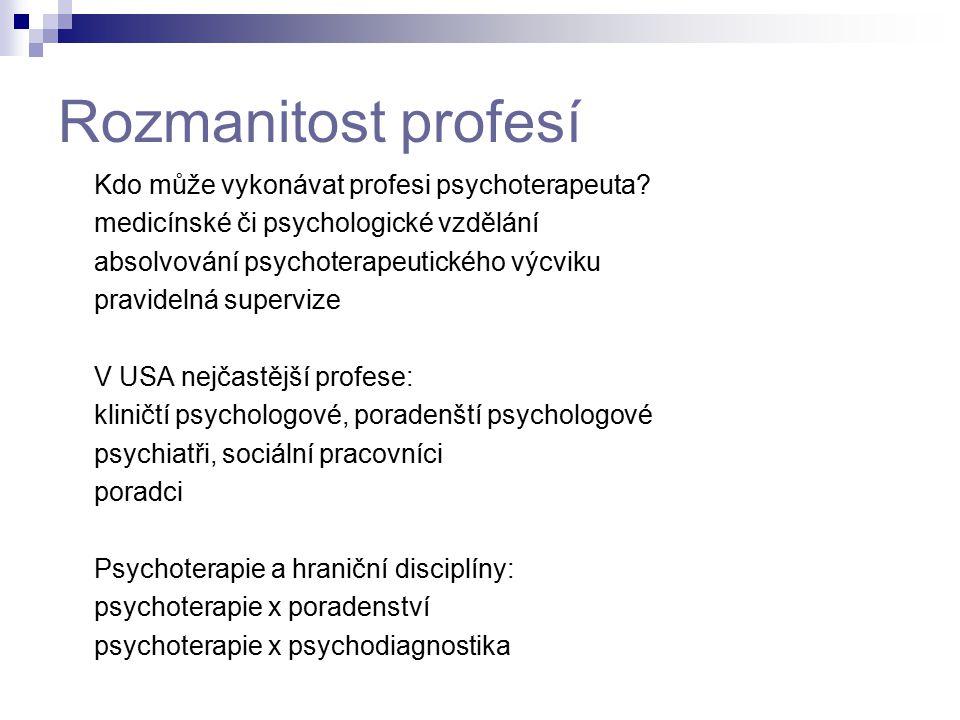 Rozmanitost profesí Kdo může vykonávat profesi psychoterapeuta? medicínské či psychologické vzdělání absolvování psychoterapeutického výcviku pravidel