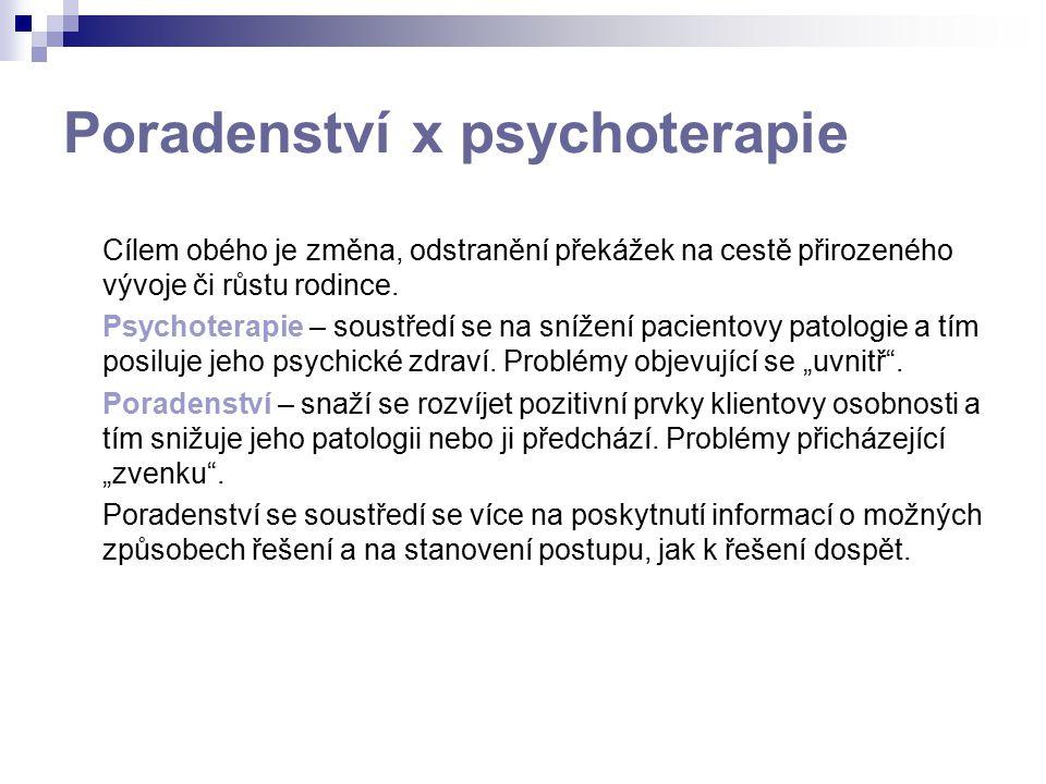 Poradenství x psychoterapie Cílem obého je změna, odstranění překážek na cestě přirozeného vývoje či růstu rodince. Psychoterapie – soustředí se na sn