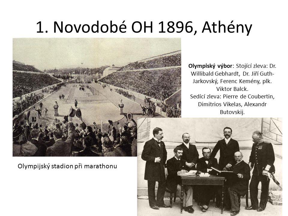 1. Novodobé OH 1896, Athény Olympijský stadion při marathonu Olympiský výbor: Stojící zleva: Dr. Willibald Gebhardt, Dr. Jiří Guth- Jarkovský, Ferenc