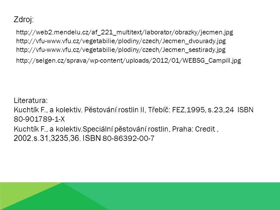 Zdroj: Literatura: Kuchtík F., a kolektiv. Pěstování rostlin II, Třebíč: FEZ,1995, s.23,24 ISBN 80-901789-1-X Kuchtík F., a kolektiv.Speciální pěstová