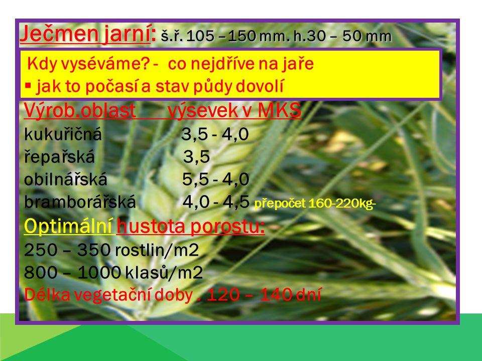 Ječmen jarní: š.ř. 105 –150 mm. h.30 – 50 mm Kdy vyséváme? - co nejdříve na jaře  jak to počasí a stav půdy dovolí Výrob.oblast výsevek v MKS kukuřič