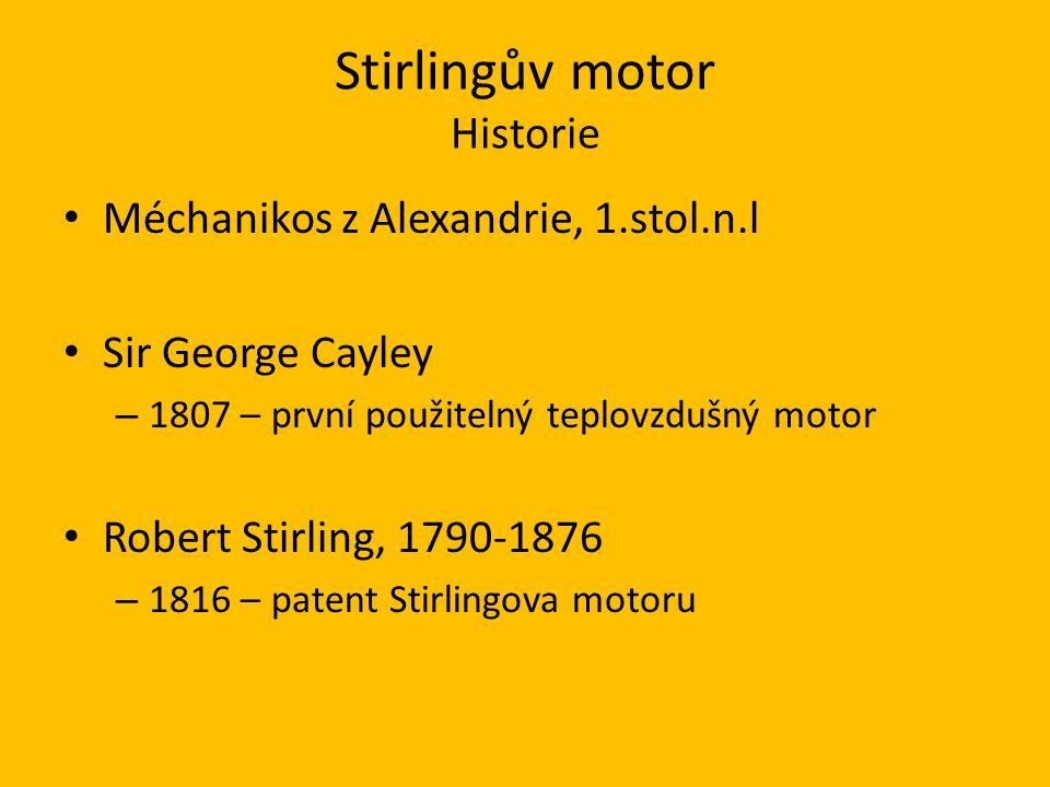 Stirlingův motor Princip Roztažnost plynů Stirlingův cyklus 1 - Izotermická expanze 2 - Izochorické chlazení 3 - Izotermická komprese 4 - Izochorický ohřev
