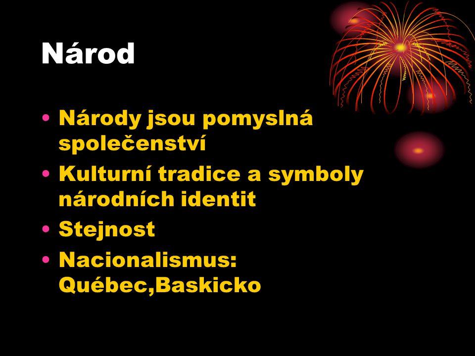 Národ Národy jsou pomyslná společenství Kulturní tradice a symboly národních identit Stejnost Nacionalismus: Québec,Baskicko