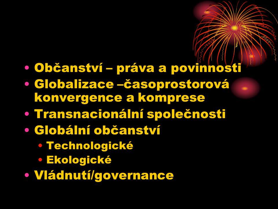 Občanství – práva a povinnosti Globalizace –časoprostorová konvergence a komprese Transnacionální společnosti Globální občanství Technologické Ekologické Vládnutí/governance