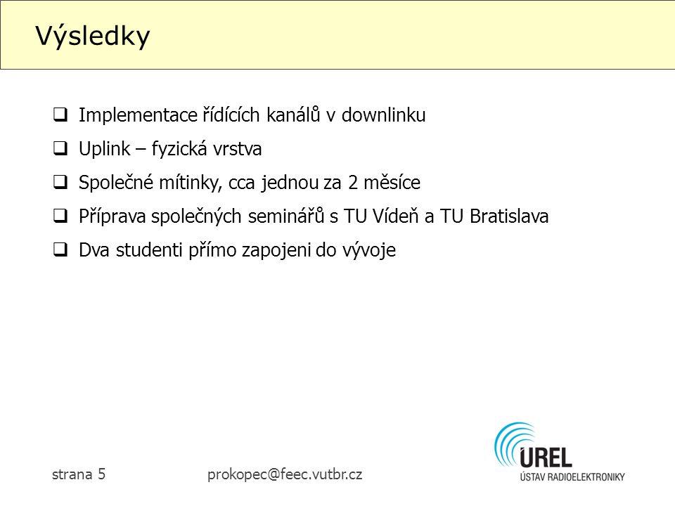 prokopec@feec.vutbr.czstrana 5 Výsledky  Implementace řídících kanálů v downlinku  Uplink – fyzická vrstva  Společné mítinky, cca jednou za 2 měsíce  Příprava společných seminářů s TU Vídeň a TU Bratislava  Dva studenti přímo zapojeni do vývoje