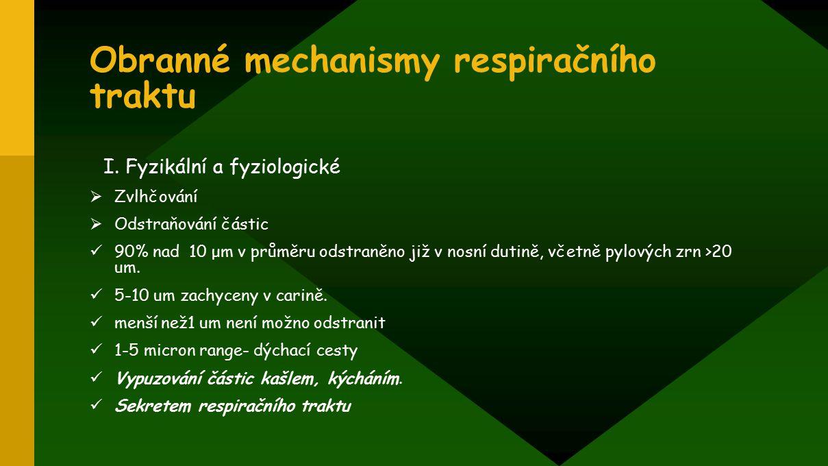 Obranné mechanismy respiračního traktu I. Fyzikální a fyziologické  Zvlhčování  Odstraňování částic 90% nad 10 μm v průměru odstraněno již v nosní d