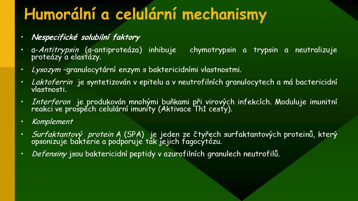 Humorální a celulární mechanismy Nespecifické solubilní faktory α-Antitrypsin (α-antiproteáza) inhibuje chymotrypsin a trypsin a neutralizuje proteázy