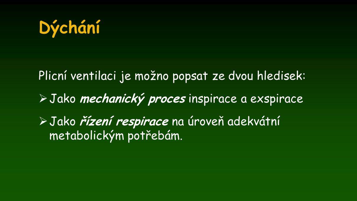 Dýchání Plicní ventilaci je možno popsat ze dvou hledisek:  Jako mechanický proces inspirace a exspirace  Jako řízení respirace na úroveň adekvátní