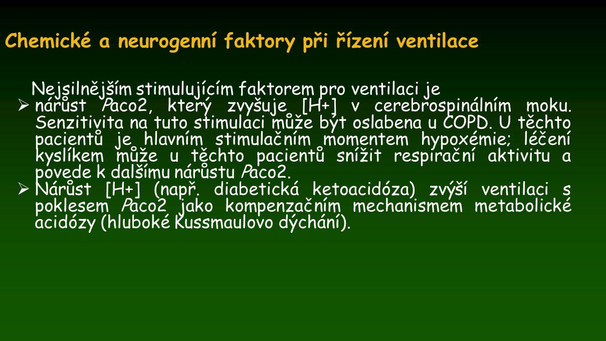 Chemické a neurogenní faktory při řízení ventilace Nejsilnějším stimulujícím faktorem pro ventilaci je  nárůst Paco2, který zvyšuje [H+] v cerebrospi