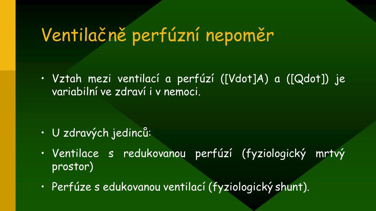 Ventilačně perfúzní nepoměr Vztah mezi ventilací a perfúzí ([Vdot]A) a ([Qdot]) je variabilní ve zdraví i v nemoci. U zdravých jedinců: Ventilace s re